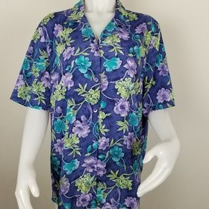 Alfred Dunner Size 18 Button Down Floral Blouse